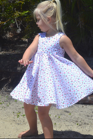 Ava tea party dress white