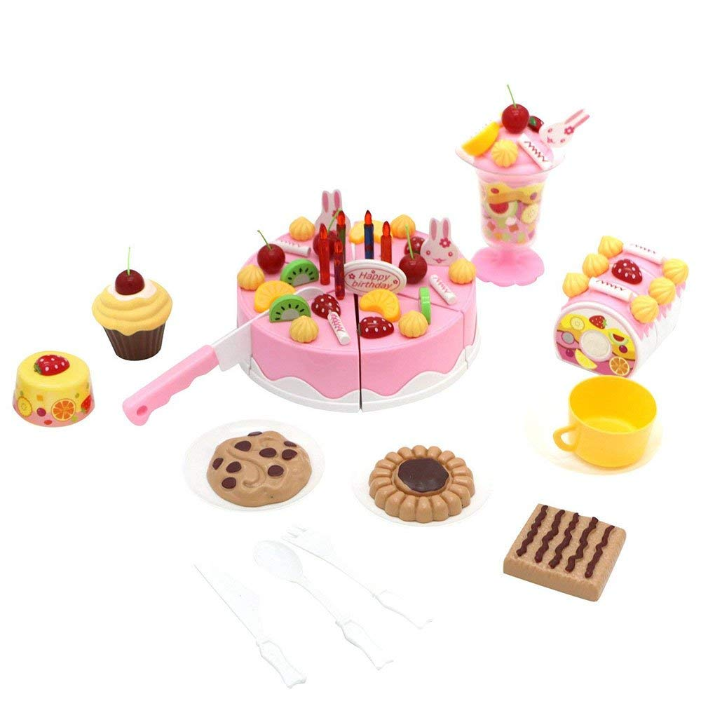 Toy Cake Tea Party Set, 75 Pcs Pretend Food Playset