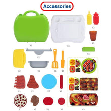 Load image into Gallery viewer, BBQ Pretend Play Set 23pcs, Pretend Food Barbecue Toy with Carry Case