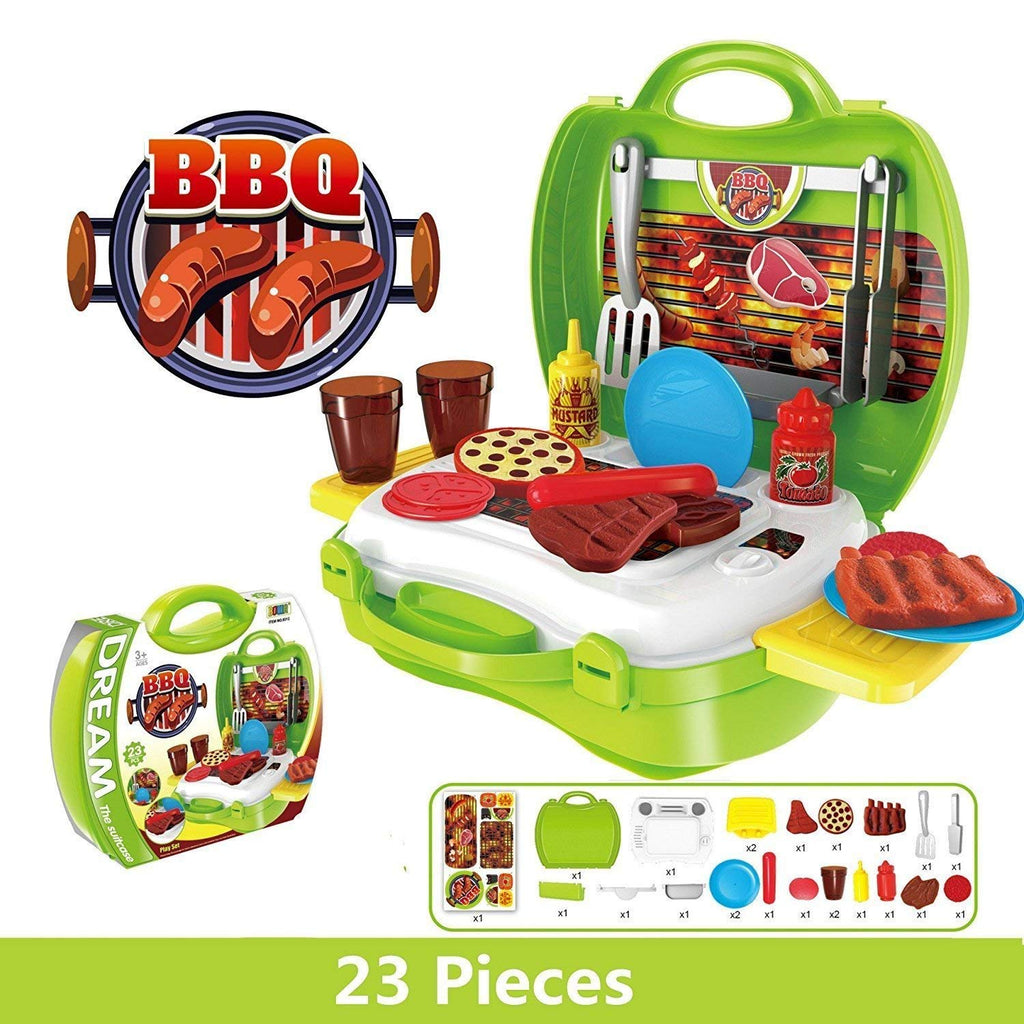 BBQ Pretend Play Set 23pcs, Pretend Food Barbecue Toy with Carry Case