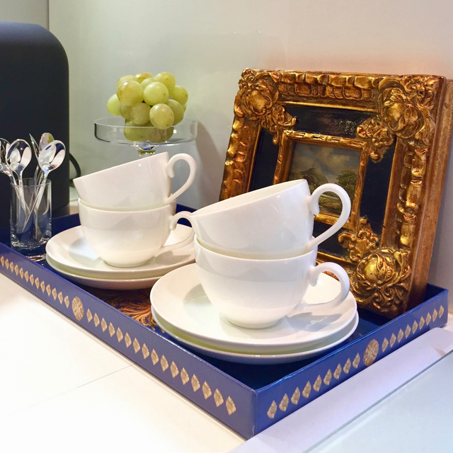 Yocaly Blue Decorative Tray Stages a Small Coffee Bar