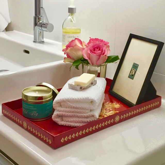 Yocaly Red Decorative Tray Showcases a Welcoming Bathroom Vignette