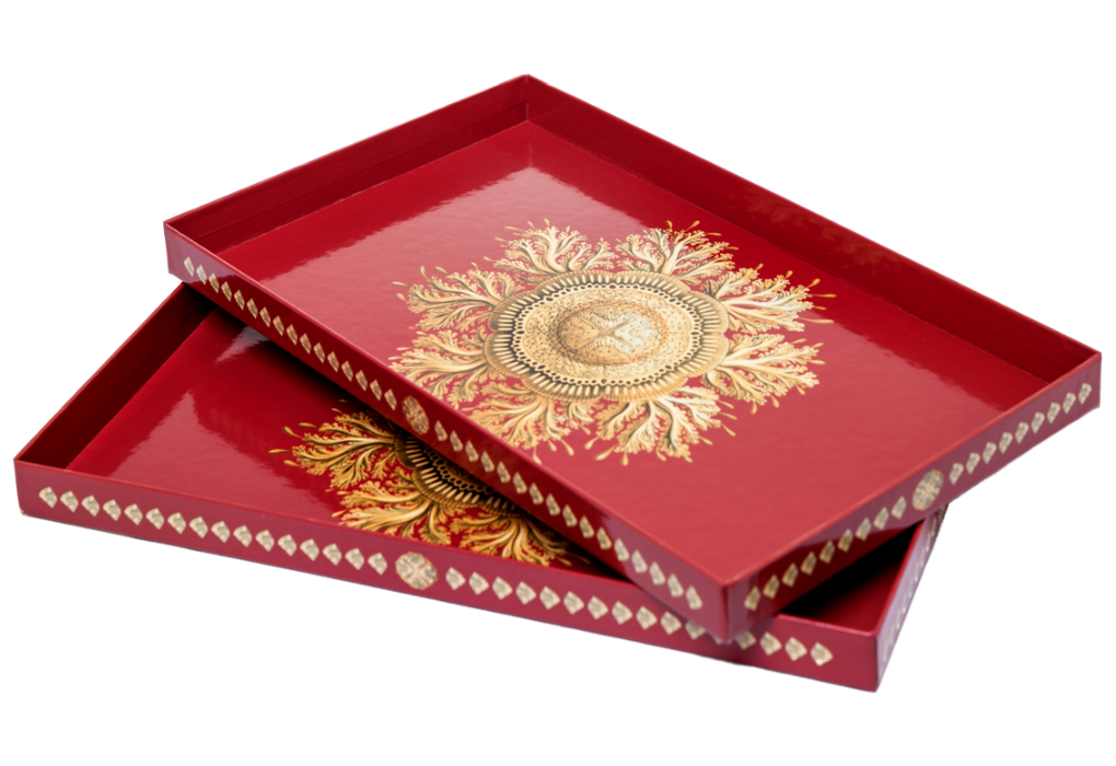 Two Yocaly Red Decorative Trays