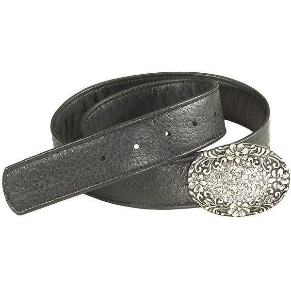 Ladies Black Diamante Buckle Belt