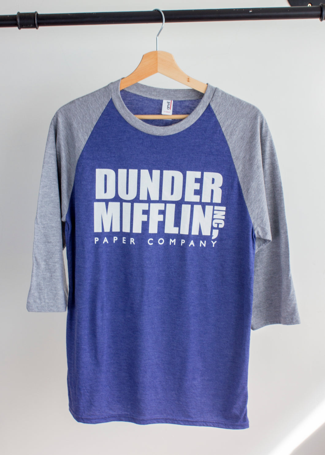 US office dunder mifflin print on a blue baseball tshirt