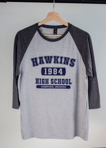 stranger things baseball tee with hawkins high print