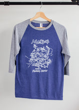 howls moving castle ghibli white print on blue basbeball tshirt