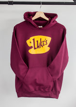 gilmore girls burgundy hoodie with lukes diner yellow print