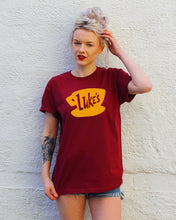 gilmore girls burgundy tshirt with lukes diner yellow print