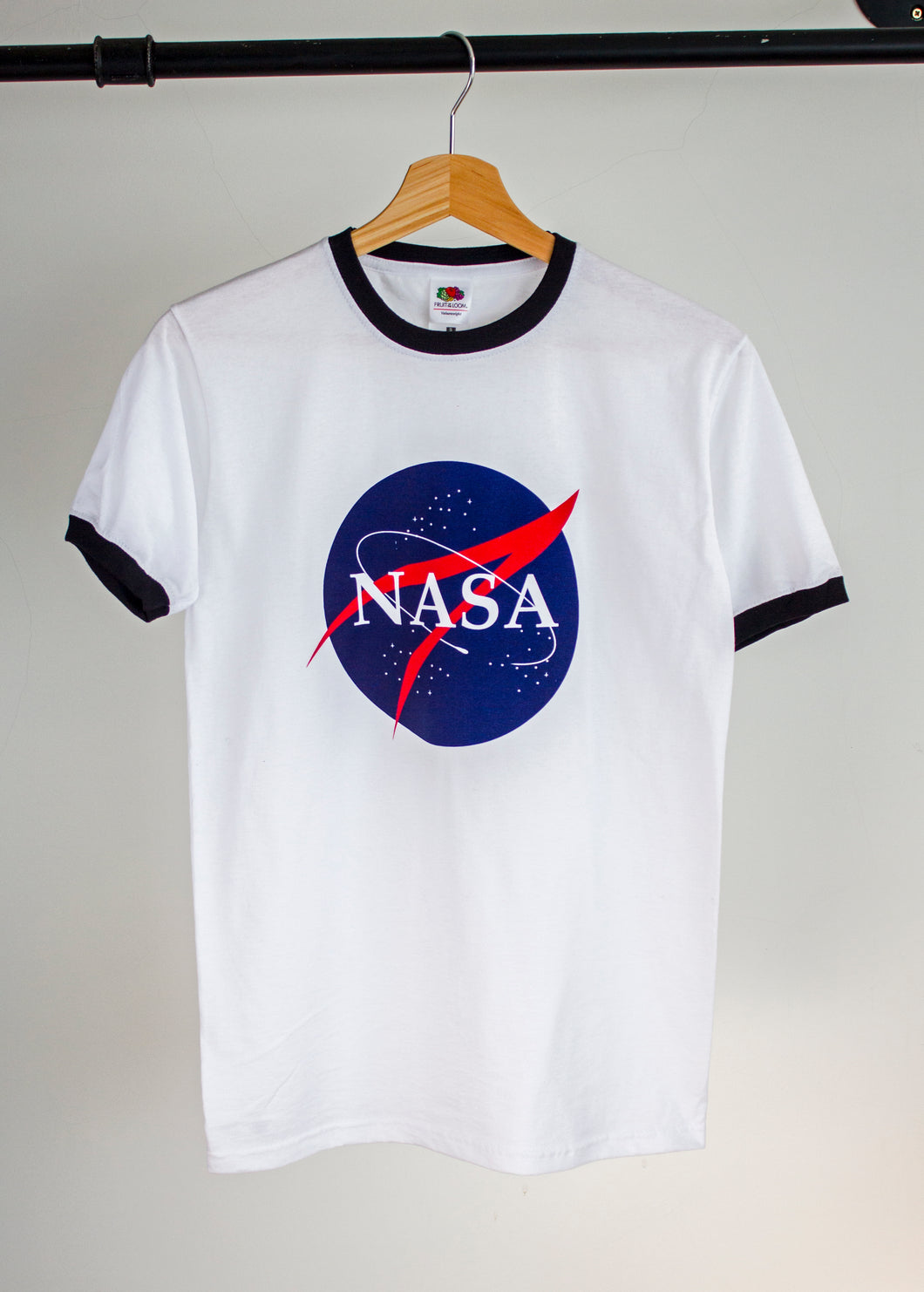 nasa white ringer tshirt screen printed