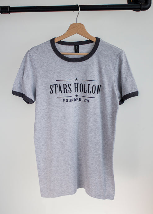 gilmore girls grey tshirt with stars hollow print on hanger