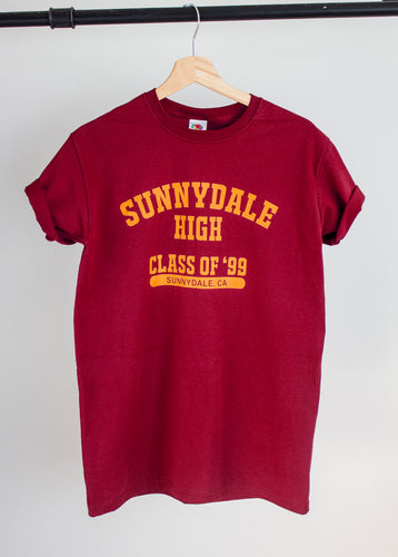 buffy vampire slayer sunnydale high design print on burgundy tshirt