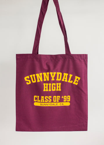 Sunnydale High Burgundy Tote Bag | Buffy the Vampire Slayer Design