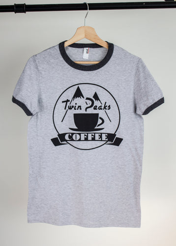 twin peaks coffee print on grey ringer tshirt