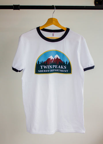 twin peaks sheriffs department design on a baseball tee