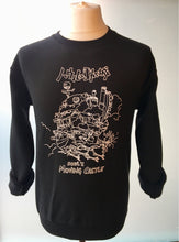 photo of howls moving castle white print on black sweater