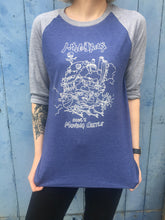 photo of howls moving castle ghibli white print on blue basbeball tshirt