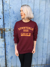 buffy vampire slayer print on burgundy sweatshirt