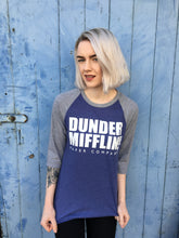 US office dunder mifflin baseball tee jersey tshirt t-shirt raglan long sleeve top blue womens buy purchase shop print