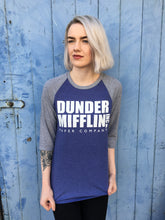 dunder mifflin print on a blue baseball tee photoshoot