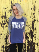 photo of US office dunder mifflin print on a blue baseball shirt