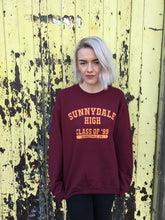 buffy sunnydale high print on maroon sweater