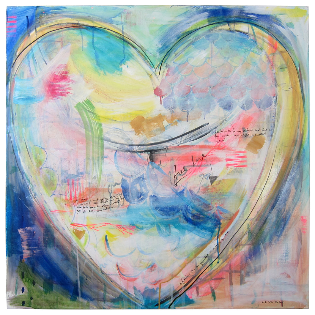 Free Love - original heart painting