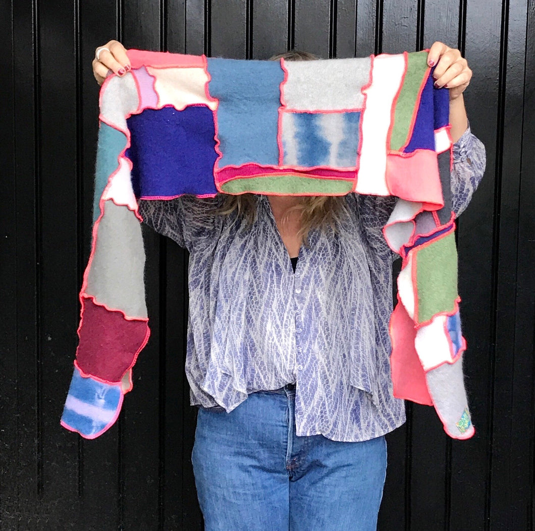 Rhea- upcycled cashmere scarf - fall confetti color way