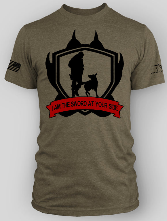 SWORD AT YOUR SIDE DOG CHARITY SHIRT OD GREEN