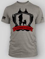 SWORD AT YOUR SIDE DOG CHARITY SHIRT GRAY