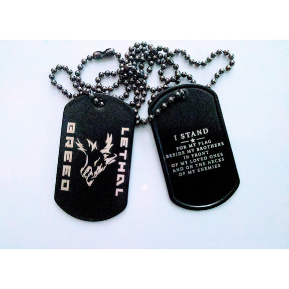 I STAND LASER ENGRAVED DOG TAGS