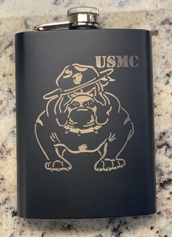 BLACK USMC BULLDOG LASER ENGRAVED FLASK WITH FUNNEL