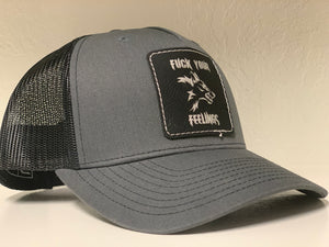 FUCK YOUR FEELINGS LEATHER LASER ENGRAVED PATCH HAT