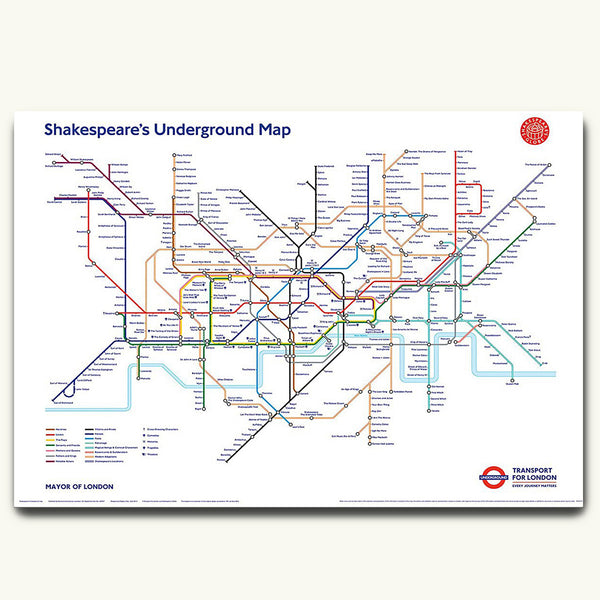 Shakespeare underground map poster