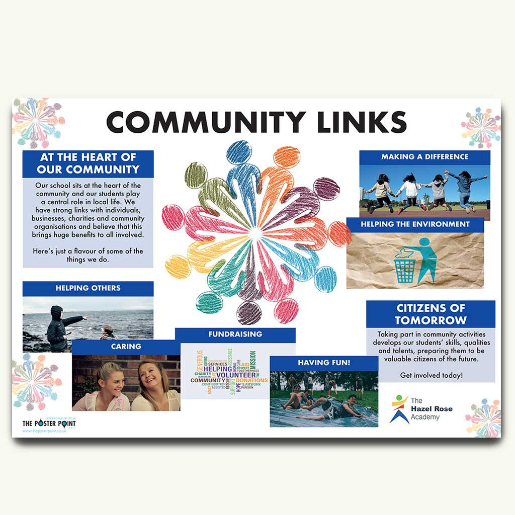 Community links custom poster blue