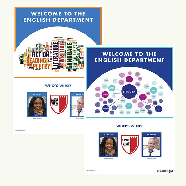 Welcome to the English Department. Custom poster for 2 members of staff