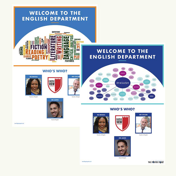 Welcome to the English Department. Custom poster for 3 members of staff