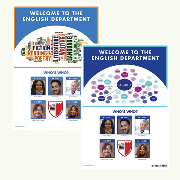 Welcome to the English Department. Custom poster for 5 members of staff