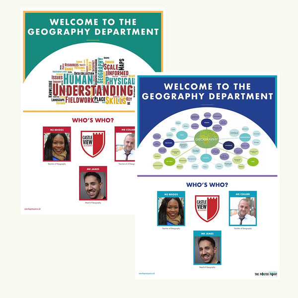 Welcome to the Geography Department. Custom poster for 3 members of staff