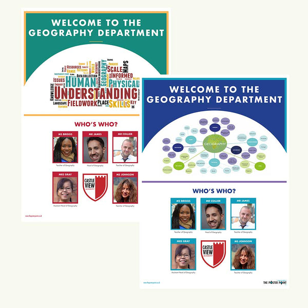 Welcome to the Geography Department. Custom poster for 5 members of staff