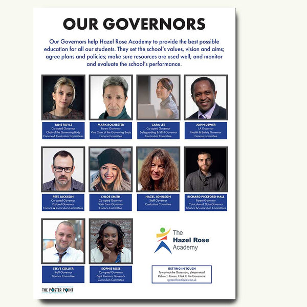 Who's who governors poster in blue
