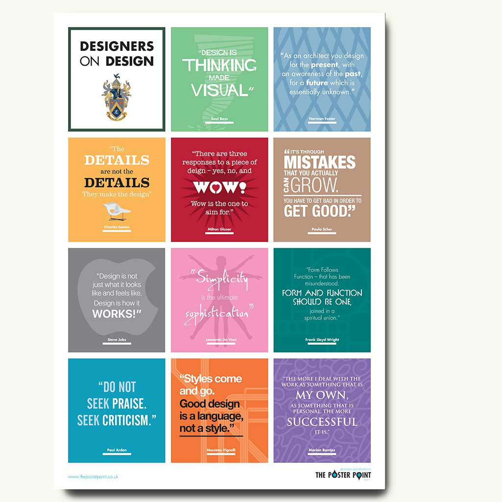 Designers On Design Poster Inspirational Quotes From Famous