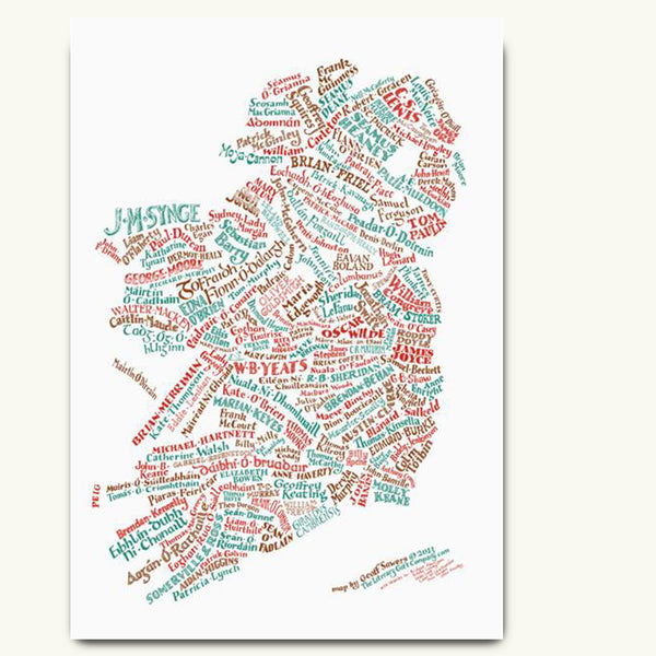 Literary Map of Ireland. A typographic tour of best-loved authors