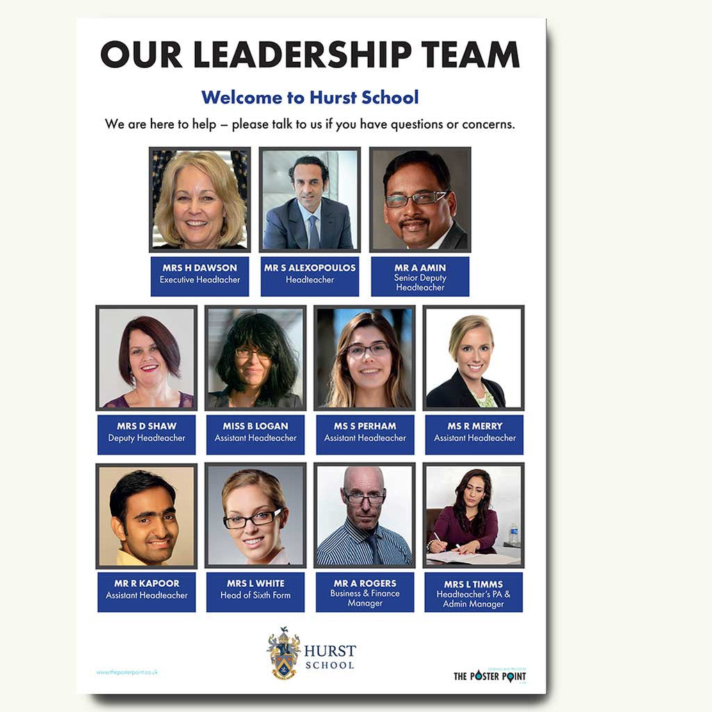 Leadership poster for 11 in blue