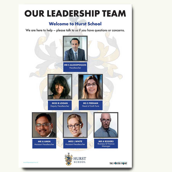 Leadership team poster for 6 blue