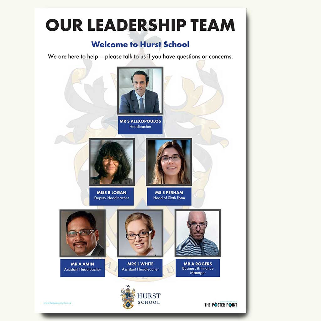 Leadership poster for 6 in blue