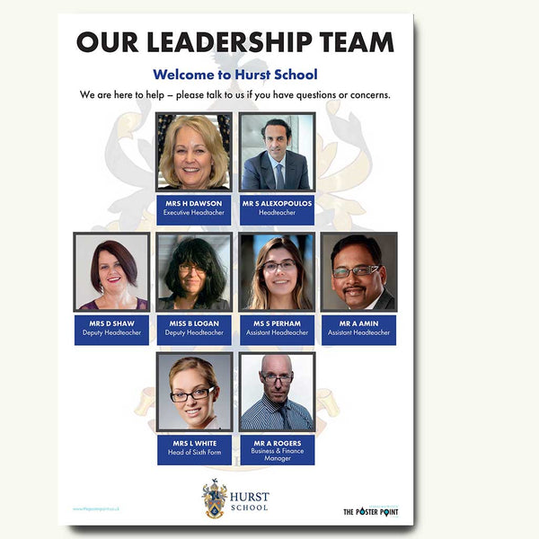 Leadership poster for 8 staff blue