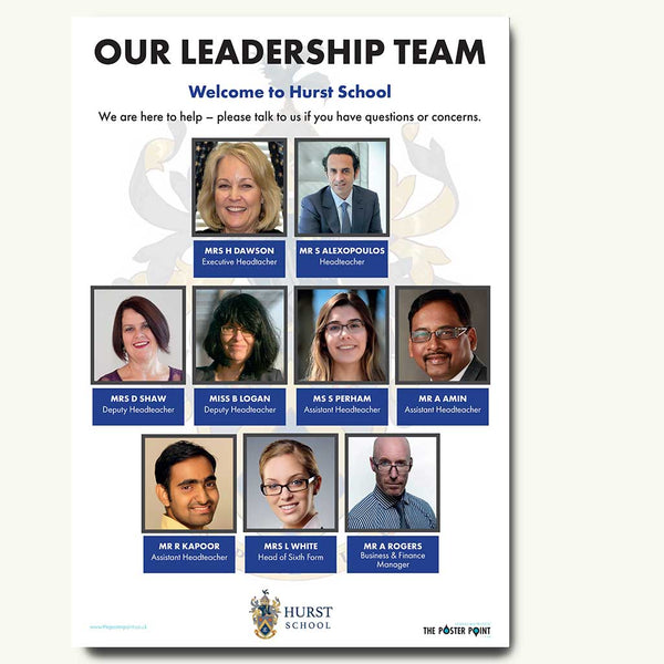 Leadership team poster for 9 in blue