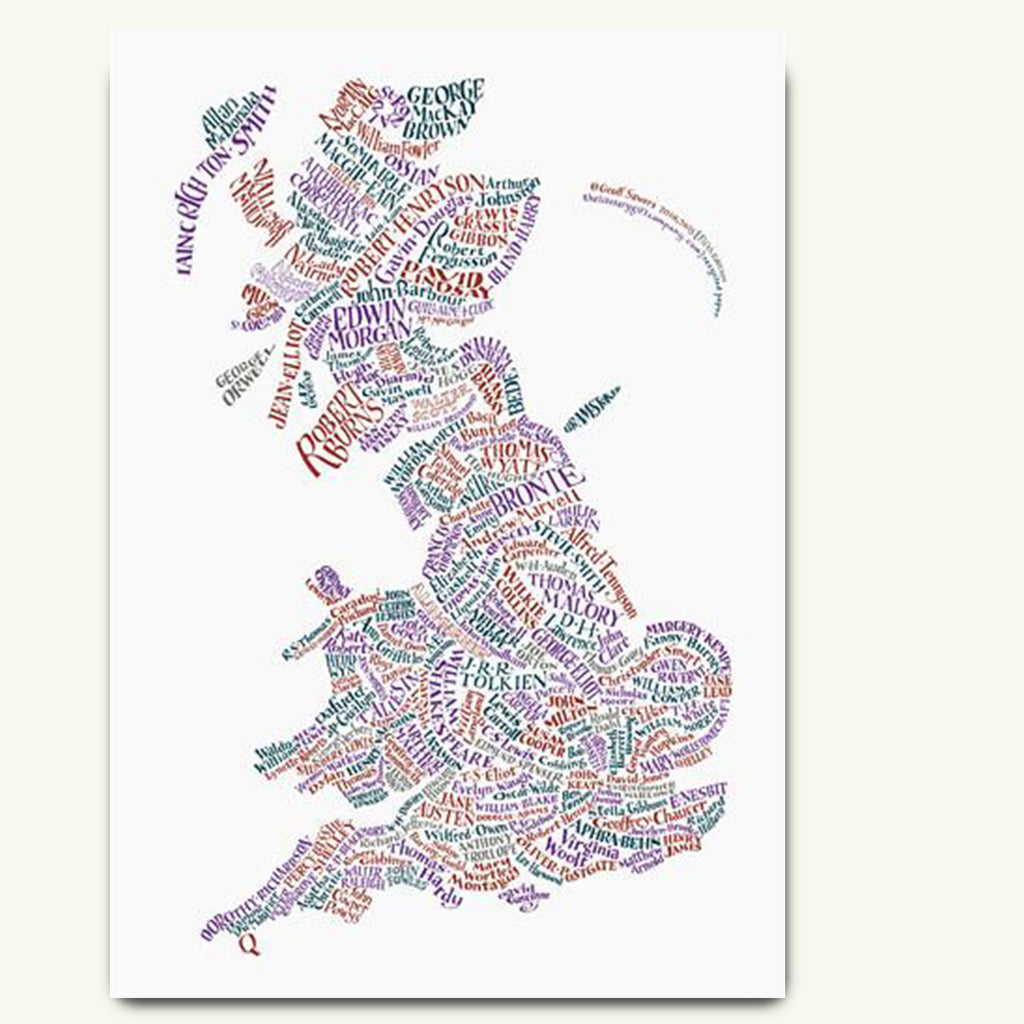 Literary map of Britain poster