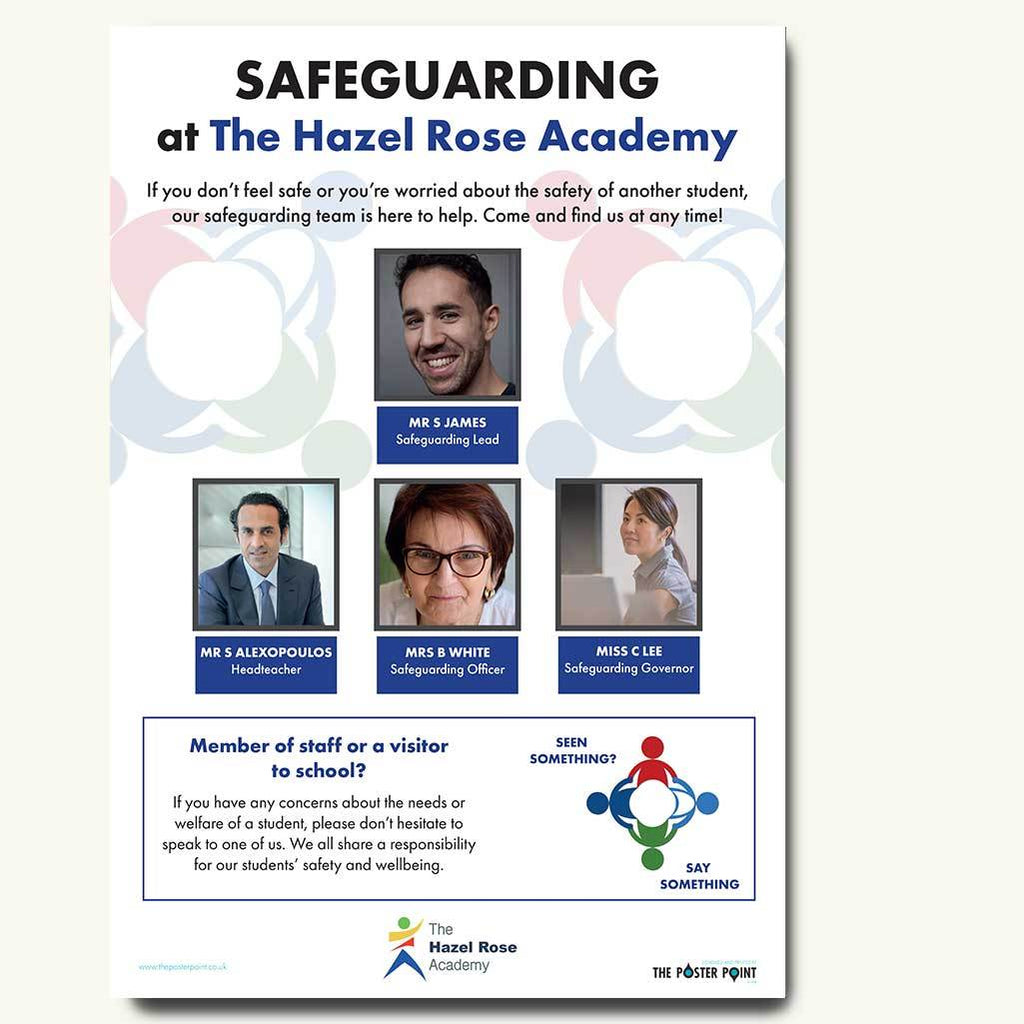 Safeguarding who's who poster for 4 staff blue